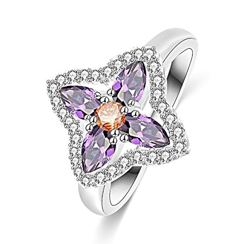 AmDxD Jewelry Womens Wedding Bands Silver Plated Bands Purple Flower Rhinestone Silver Size 9