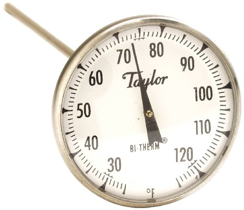 Taylor Precision Products Bi-Therm Superior Grade Bi-Metal Thermometer (8-Inch Stem, 2-Inch Dial, 25- to 125-Degrees Fahrenheit) by Taylor Precision Products