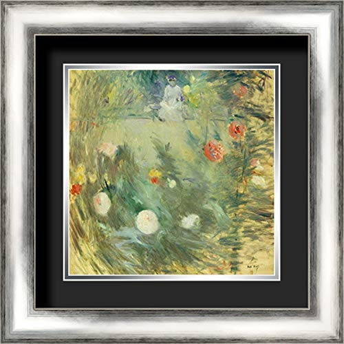 Nourrice Au Fond DUn Jardin 20x20 Silver Contemporary Wood Framed and Double Matted (Black Over Silver) Art Print by Morisot, Berthe ()