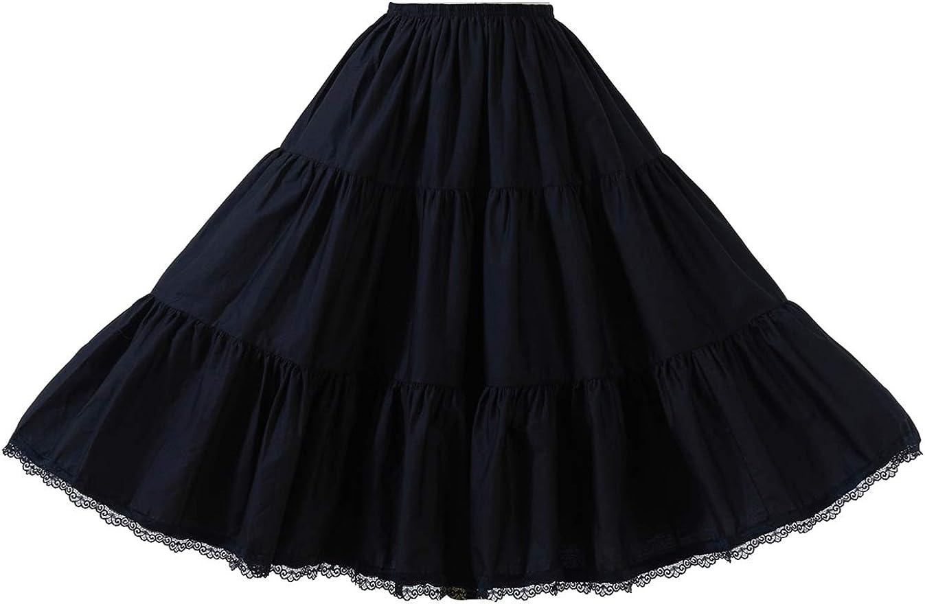 Ladies Half Slip Underskirt Embroidered Mesh Vintage Petticoat Bottom Skirt