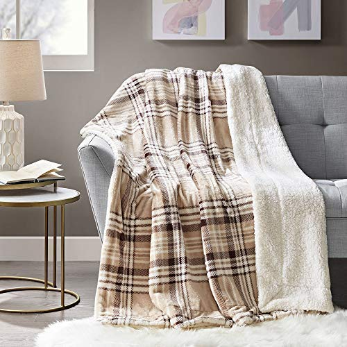 Comfort Spaces Sherpa to Plush Blanket Ultra Soft and Cozy Throws 50 x 60 for Couch, Bed, 50x60, Plaid Tan