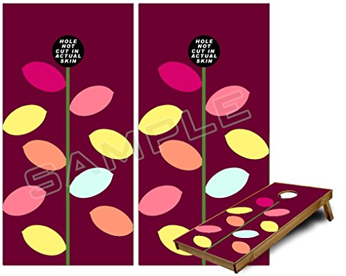 Burgundy Vinyl Bean Bag - Cornhole Bag Toss Game Board Vinyl Wrap Skin Kit - Plain Leaves On Burgundy (fits 24x48 game boards - Gameboards NOT INCLUDED)