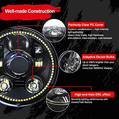 Wisamic 5-3/4 5.75 inch LED Headlight - with Halo DRL Compatible with Harley Davidson Dyna Street Bob Super Wide Glide Low Rider Night Rod Train Softail Deuce Custom Sportster Iron 883 -Black: Automotive