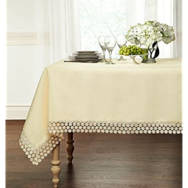 Luxurious Heavy Weight Macrame Trim Fabric Tablecloth By GoodGram® - Assorted Sizes & Colors - Beige, 60  x 120  Rectangle (10-12 Chair)