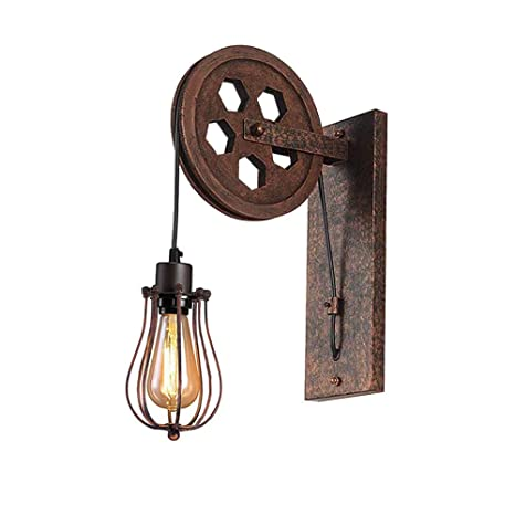 new style c5810 57745 Kiven Retro Industrial Pulley Wall Sconce Steampunk Wall Light Rustic  Lighting