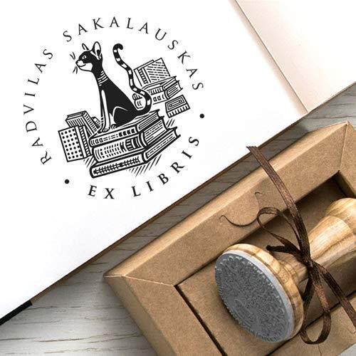 Stempel Katze Stapel B/ücher Ex libris Original Kraft Papier Geschenkbox Katzenmotiv Buchstempel