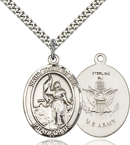 (Sterling Silver Saint Joan of Arc Army Medal Pendant, 1 Inch)
