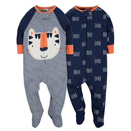 Gerber Baby Boys' 2 Pack Zip Front Sleep 'n Play, Tiger, 0-3 ()