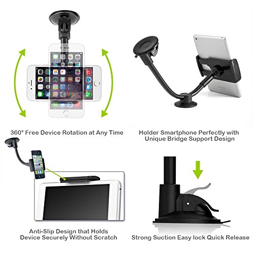 Car Phone Mount, Newward 2 Clamps Long Arm Universal Windshield Dashboard Cell Phone Holder for iPhone X 8 7 Plus 6 6s Plus 5s, Samsung Galaxy S9 S8 S7 S6 S5 Note,Google,LG and other Smartphones by Newward (Image #3)
