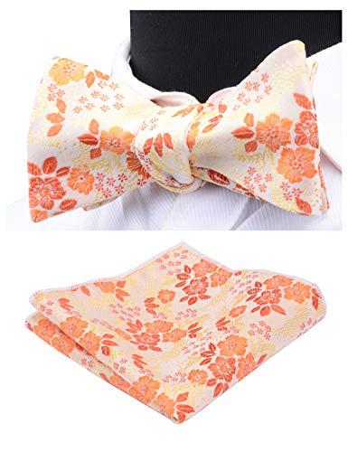 GUSLESON Silk Mens Bowtie Orange Floral Self Tie Bow Tie & Hankerchief Set (0564-17) - Orange Silk Bow Tie