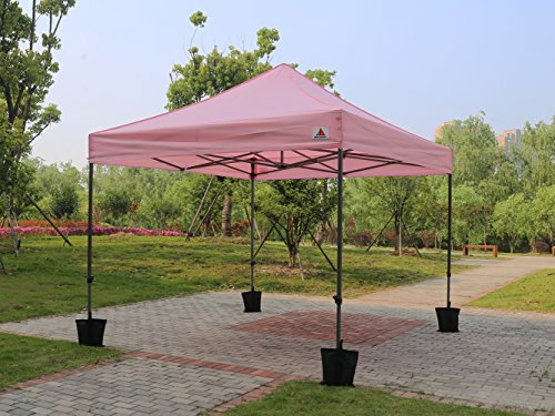 Abccanopy Pink 10x10 Ez Pop up Canopy Patio Party Wedding Tent Gazebo with Roller Bag