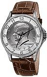 August Steiner Men's CN010SSBR Analog Quartz Leather Kennedy Half Dollar Dial and Brown Embossed Silver Watch