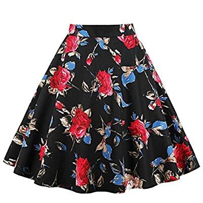 DYS Women's 1950's Vintage Skirt A Line Pleated Floral Print Skirts Midi Length