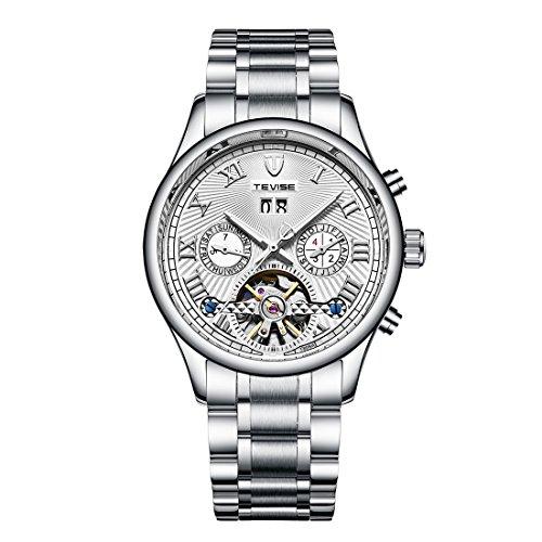 Men's Swiss Automatic Movement Watch Stainless Steel Date Skeleton Tourbillon Watch ()