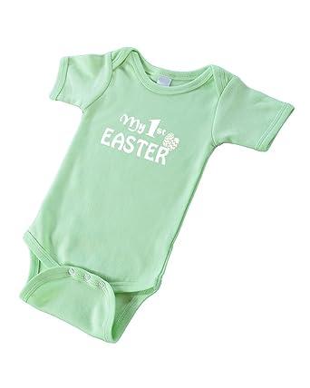 62d811fab Amazon.com: PandoraTees Short Sleeve Bodysuit - My 1st Easter Baby ...