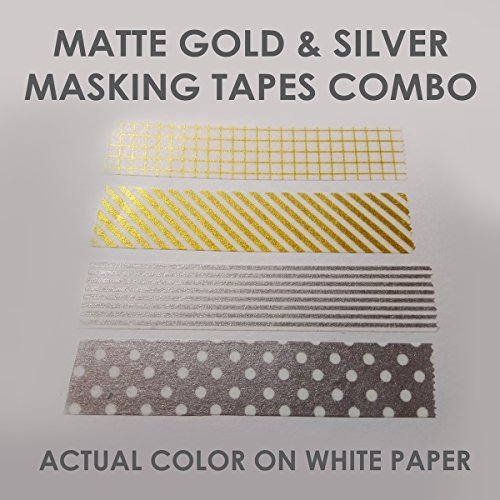 Value Pack- Fancy Scrapbook Washi Masking Tape- Combo (Matte Gold & Silver- Dots, Grids and Stripes- 1.5cm X 3 meter- 4 (Silver Matte Material)