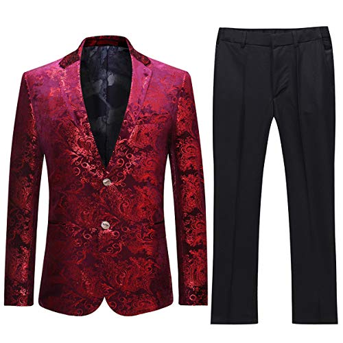 (Boyland Boys Tuexdo Suit Formal Red Jacquard Jacket Pants Black Suit Set)