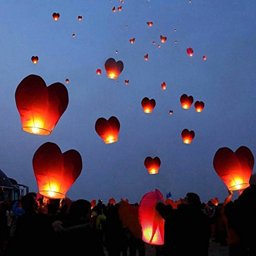 10Pcs Heart Shape Sky Lanterns Multi Coloured for Christmas, New Year, Chinese New Year, New Years Eve, Weddings & Parties, Valentines Day - Flying Sky Lanterns (Pink) by GRD