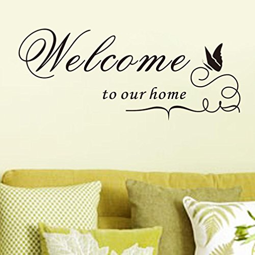 BIBITIME Silhouette Butterfly Saying Wall Decals Welcome to our home Outdoor Sign Quotes Vinyl Wall Sticker for Garden Porch Englsih Words Decor Art Silhouette Welcome Sign
