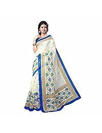 Indian Handicrfats Export Floral Print Assam Silk Cotton, Silk Saree (Multicolor)