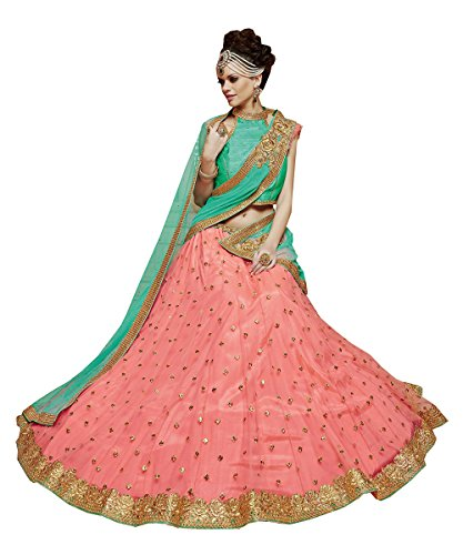 Da Facioun Indian Women Designer Wedding Peach Lehenga Choli R-16045