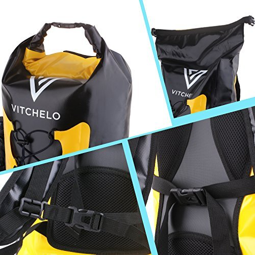Vitchelo 30L Waterproof Dry Bag Backpack for Outdoor Water Sports Kayaking Camping - Fly Fishing & Boating Gifts for Men - 100% Tear-Free, Lifetime Kayak Storage Bag - Free Waterproof Phone Pouch by Vitchelo (Image #2)