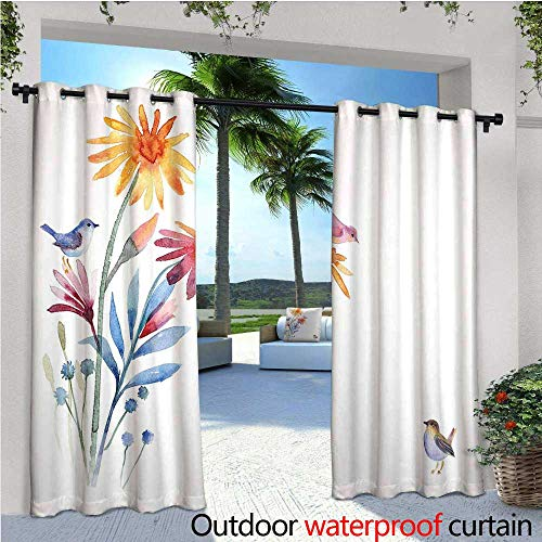 cobeDecor Watercolor Exterior/Outside Curtains Springtime Flowers with Birds Unusual Color Scheme Brush Effect for Patio Light Block Heat Out Water Proof Drape W120 x L96 Slate Blue Amber Levander