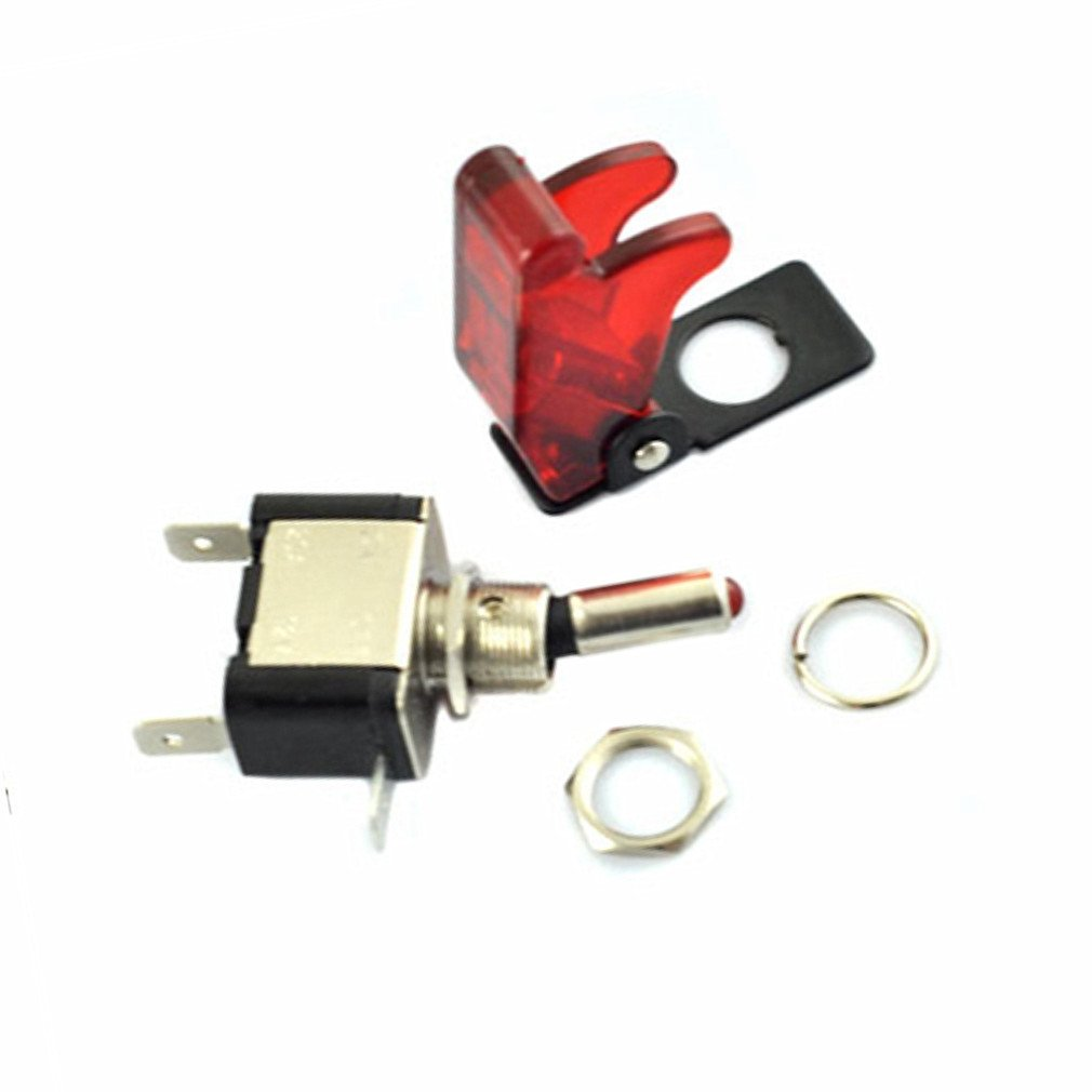 red Qiorange 5x DC 12V 20A Racing Car Vehicle Red LED Lights Cover Toggle Switches