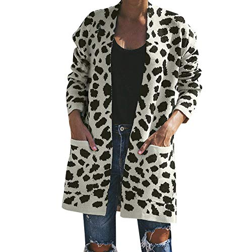 Price comparison product image HOSOME Women Cardigan Coat Knitted Leopard Print Long Sleeve T-Shirt Sweater
