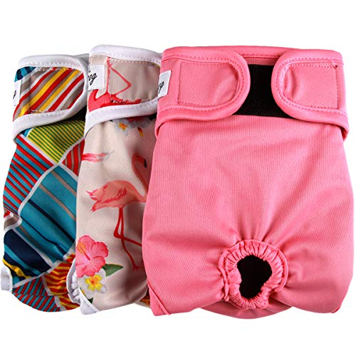 JoyDaog Dog Diapers for Female Small Dogs (3 Pack) Reusable Premium Puppy Nappies S