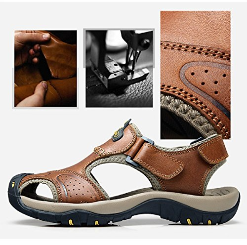 En Bout Hommes Sandales Marche Chaussures Cuir Tqgold Marron Trekking Pour Ferm De zWtpwxqH