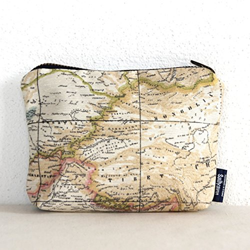Map Print Teflon-Coated Cotton Coin Pouch Change (Map Fabric Chart)