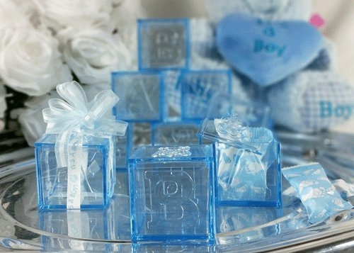 Baby Shower Party Favor Decorating Baby Blocks (Blue) 12 pieces]()