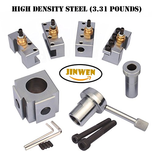 Jinwen 120018 Tooling Package Mini Lathe Quick Change Tool Post & Holders Multifid Tool Holder (Steel) (Post Tool)