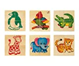 Selecta Wooden Picture Cube Puzzle Blocks - Zoo Babies (Made in GERMANY)
