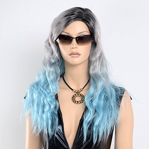 """Price comparison product image Stfantasy Wigs for Women Long Curly Heat Friendly Synthetic Hair 23"""" 205g Full Wig Peluca Free Hair Net + Clips, Grey Blue Ombre"""