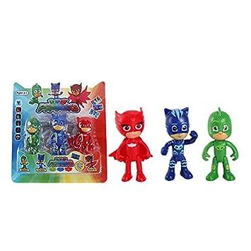 ONOGAL PJMASK Coleccion 3 Figuras Personajes Gatuno Connor Catboy Amaya Buhina Greg Gekko Gekko Owlette 4735a