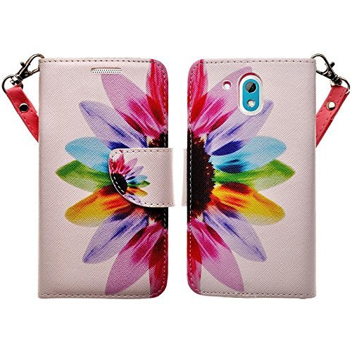 COVERLABUSA Comptiable for HTC Desire 526 Case, Luxury PU Leather Wallet Flip Protective Case Cover with Card Slots and Stand for HTC Desire 526 - Sunflower