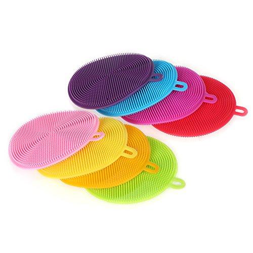 Esonmus Food-Grade Silicone Dish Sponge Household Dishwashing Antibacterial Mildew-Free Magic Cleaning Sponge Dish Washing Brush (8 Packs)