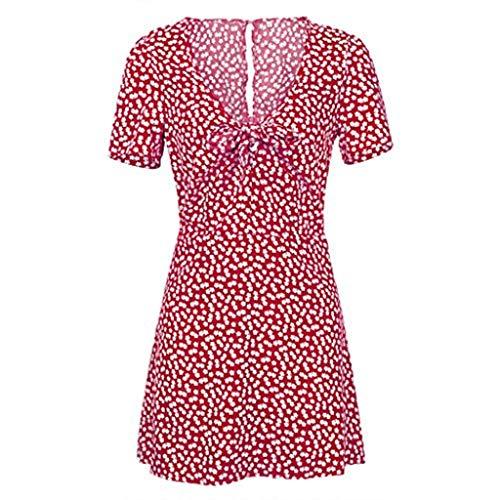 (Womens Sexy Dress Deep V Neck Bohemian Style Polka Dot Dress Flower Hem Pleated Skirt D Red)