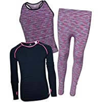 Body Glove Girls 3 Piece Athletic Tank Top, Long Sleeve Shirt and Leggings Set