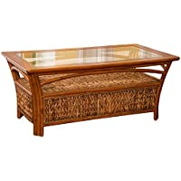 Alexander & Sheridan PAN022-SI Panama Cocktail Table in Sienna Finish with Glass