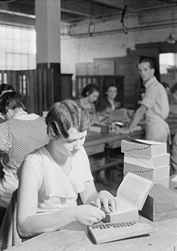 Posterazzi Poster Print Collection Woman Placing Index Tabs At Kingsport Press Tennessee 1933 Stocktrek Images, (22 x 34), Multicolored
