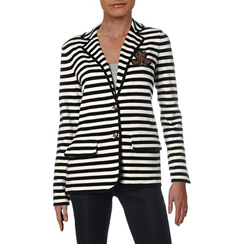 LAUREN RALPH LAUREN Womens Knit Striped Two-Button Blazer Black-Ivory M (Lauren Womens Blazer Ralph)