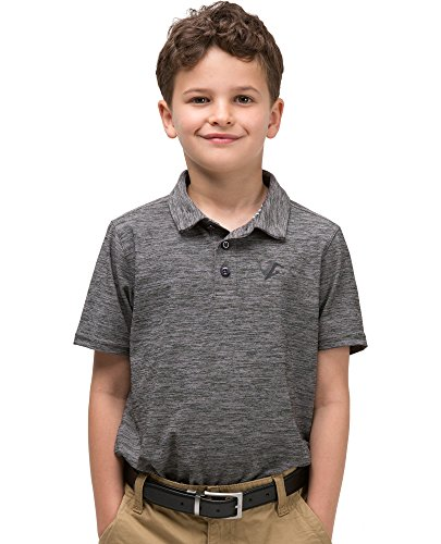 Top Gear Polo - Three Sixty Six Youth Boys Golf Dri Fit Polo Shirt, Breathable Performance Fit Gray