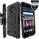 LG Tribute Empire/LG Tribute Dynasty/LG Fortune/LG Phoenix 3/LG Phoenix 4/Zone 4/LG K8S/K8 2017/K8 2018/K8 Plus Case with HD Screen Protector,IDEA LINE Combo Holster Kickstand Belt Clip Cover - Black