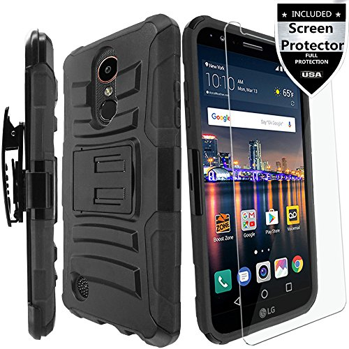 LG Aristo Case, LG Aristo 2 Case, LG Rebel 2 Case, LG Risio 2 Case With HD Screen Protector,IDEA LINE Heavy Duty Armor Shock Proof Dual Layer Holster Locking Belt Swivel Clip with Kick Stand – Black