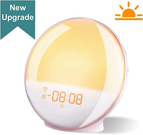 Wake- Up Light Sunrise Alarm Clock, BTGGG Smart Sunset Simulation, Dual Alarm Clock with FM Radio, 20 Adjustable Lightness, 7 colors Atmosphere Light, 7 Nature Sound, Snooze Function for Kids Bedrooms