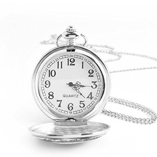 Charm Silver Chain Ladies Watch (Silver Quartz Pocket Watch with Chain - BOSHIYA Steel Charm Full Hunter Case Clock Women Men Gift)