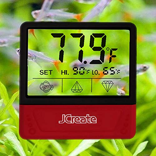 jcreate Fish Tank Thermometer, Touch Screen Digital Aquarium Thermometer with LCD Display, Stick-on Temperature Sensor ensures Optimum Temperature in Terrarium, for Your pet Amphibians and Reptiles (Fish Tank Thermoter)